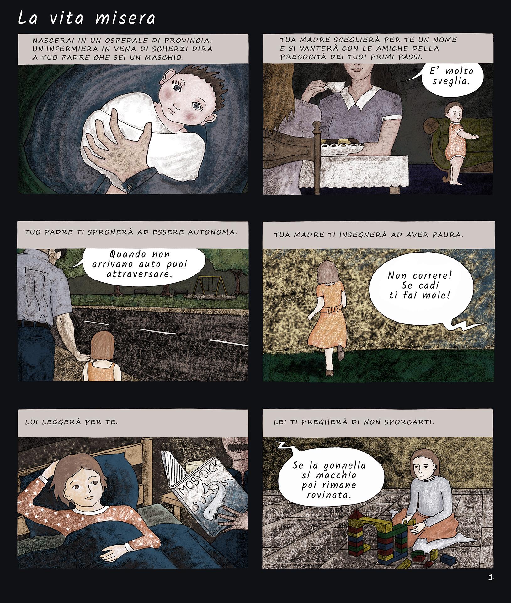 """Pagina iniziale fumetto """"La vita misera"""""""
